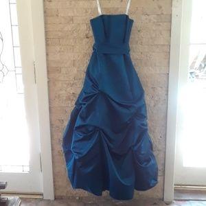 Davids Bridal blue, strapless, taffeta ballgown.